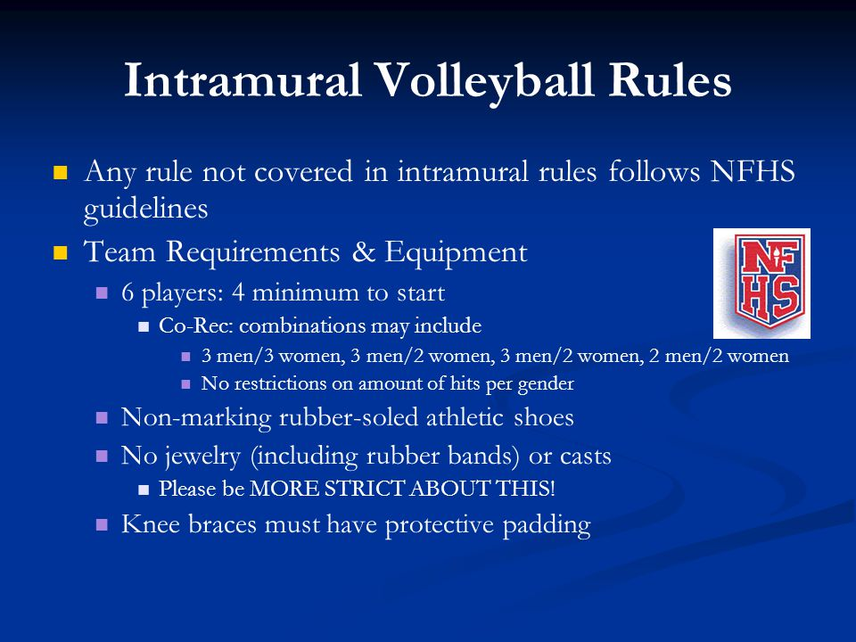 Intramural Volleyball Rules