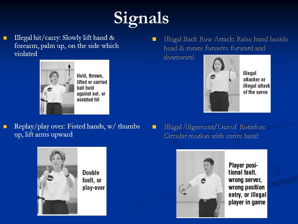 Signals Illegal hit/carry: Slowly lift hand & forearm, palm up, on the side which violated.