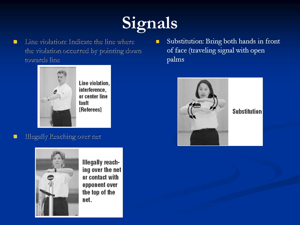 Signals Line violation: Indicate the line where the violation occurred by pointing down towards line.