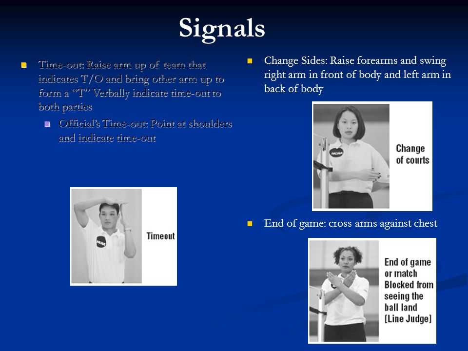 Signals Change Sides: Raise forearms and swing right arm in front of body and left arm in back of body.