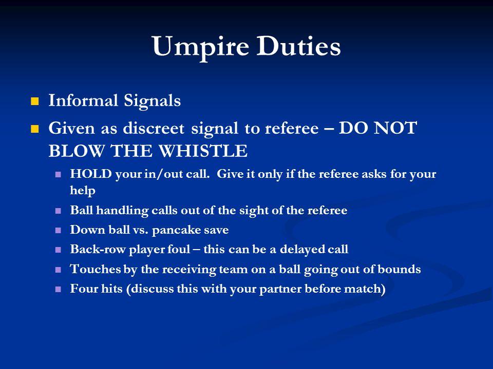 Umpire Duties Informal Signals