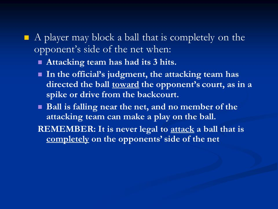 A player may block a ball that is completely on the opponent's side of the net when:
