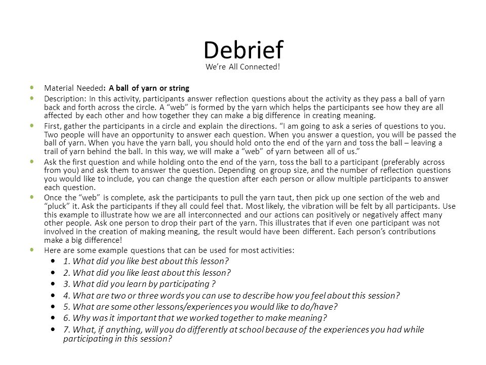 Debrief 1. What did you like best about this lesson