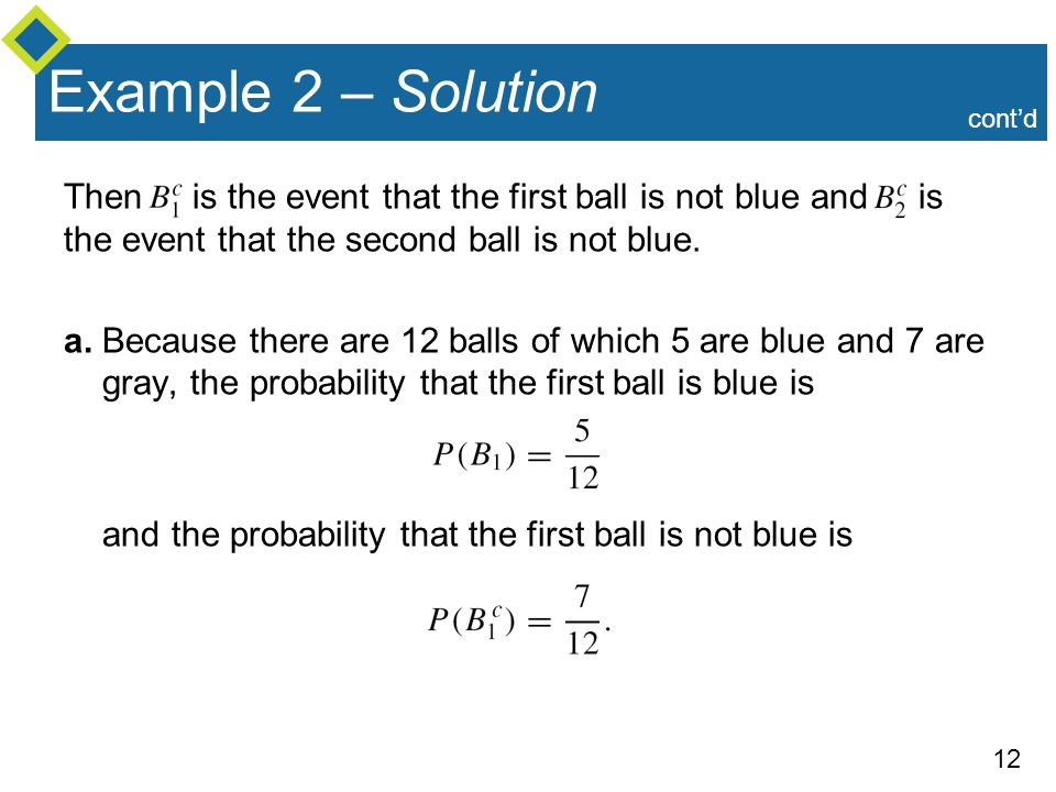 Example 2 – Solution cont'd. Then is the event that the first ball is not blue and is the event that the second ball is not blue.