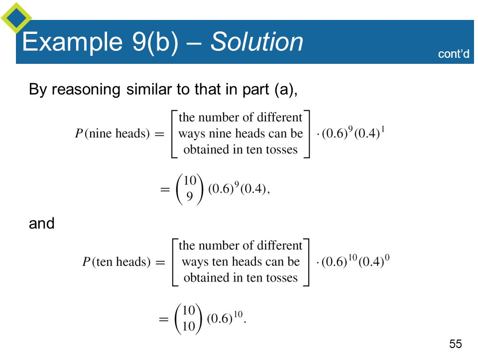 Example 9(b) – Solution By reasoning similar to that in part (a), and