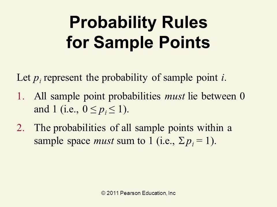 Probability Rules for Sample Points