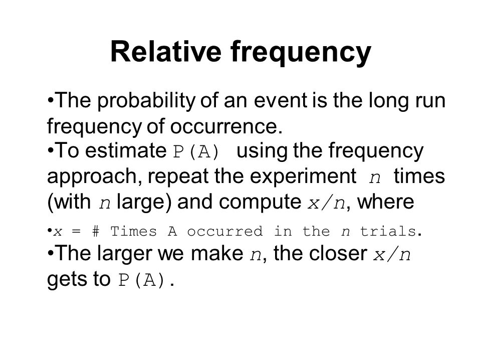 Relative frequency The probability of an event is the long run frequency of occurrence.