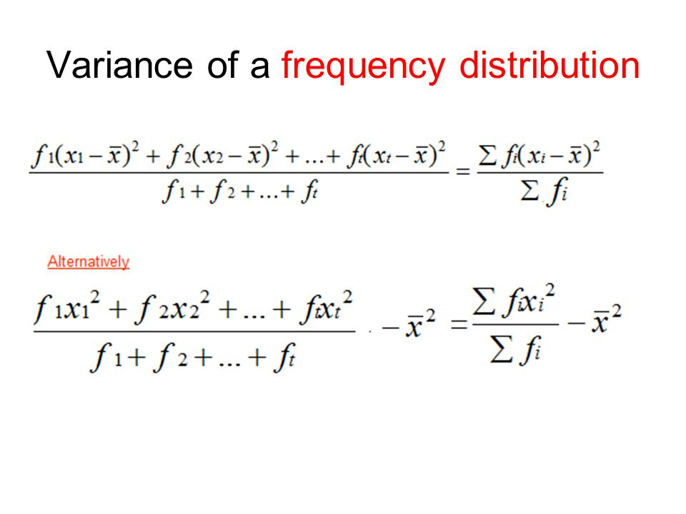 Variance of a frequency distribution