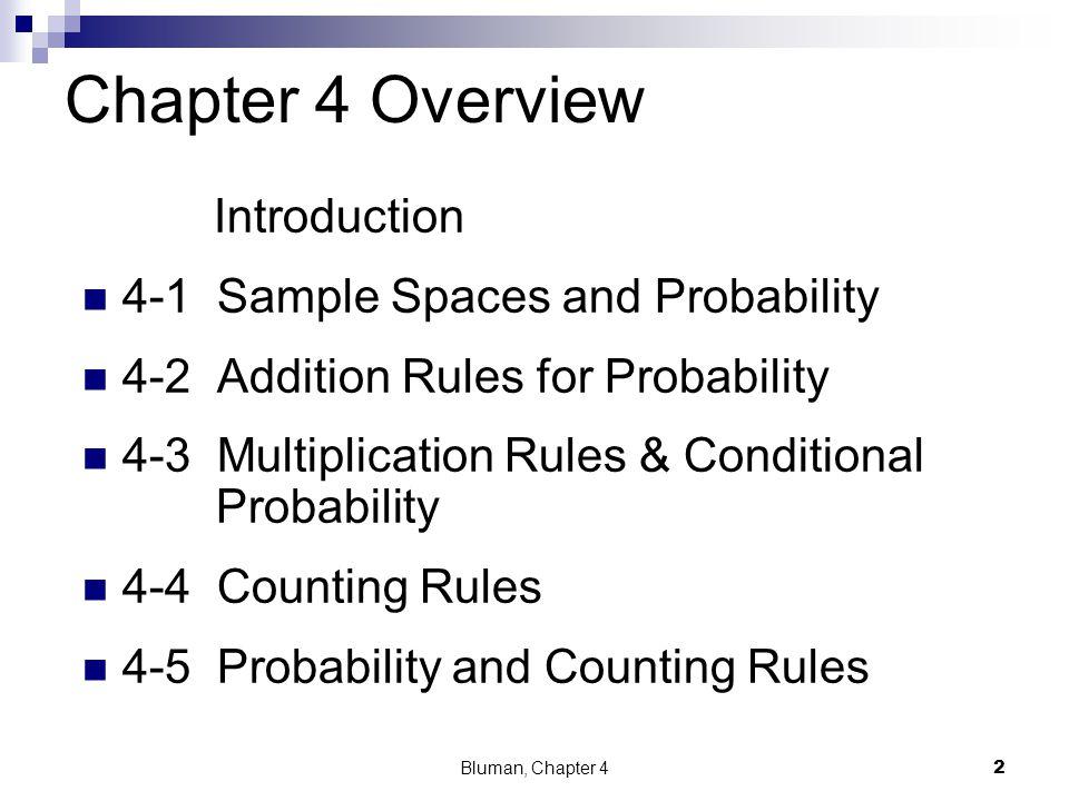 Chapter 4 Overview Introduction 4-1 Sample Spaces and Probability