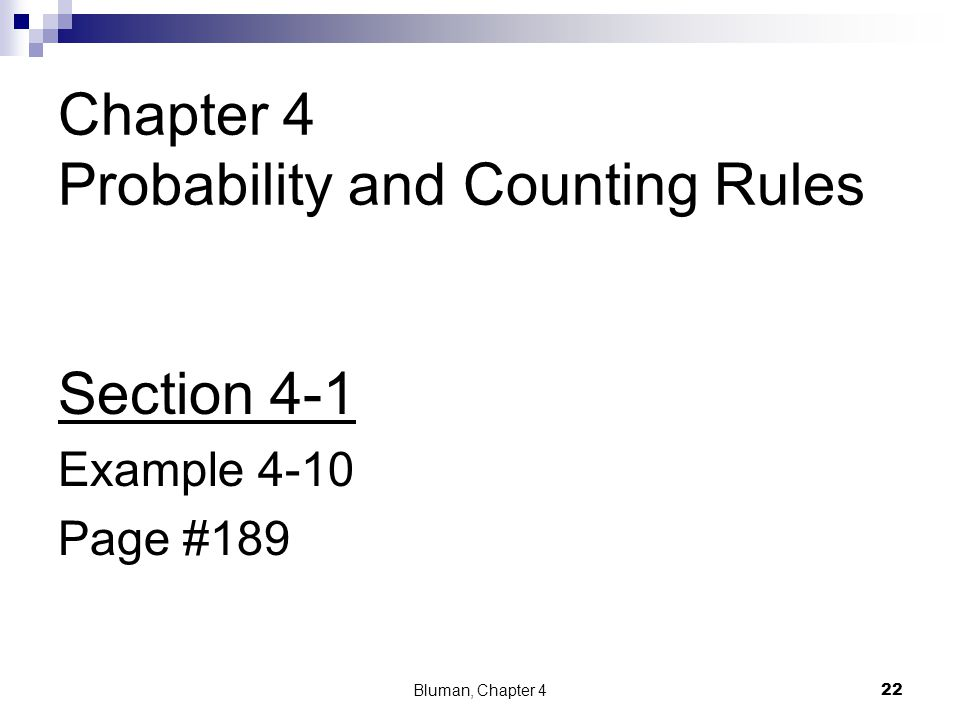 Chapter 4 Probability and Counting Rules