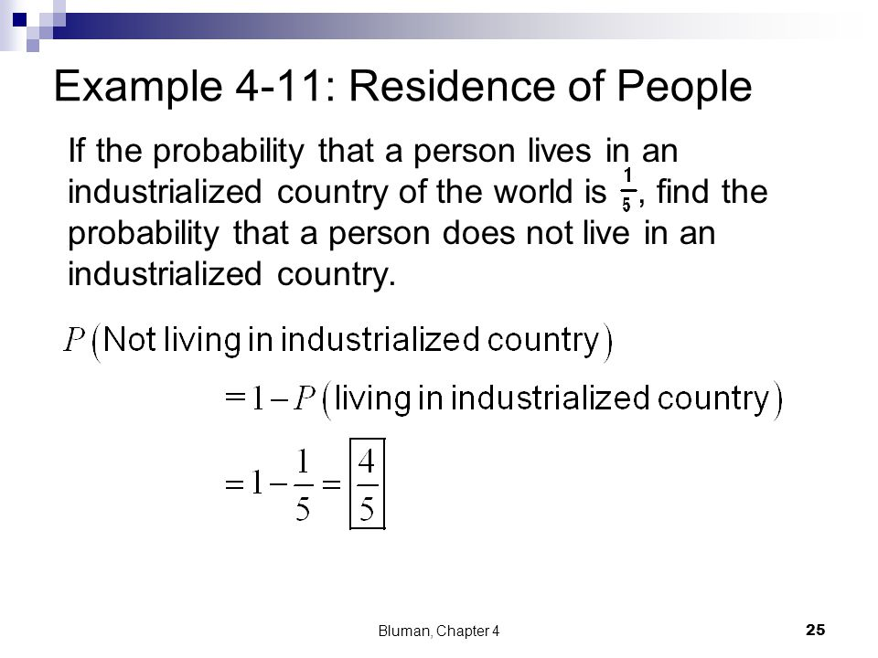 Example 4-11: Residence of People