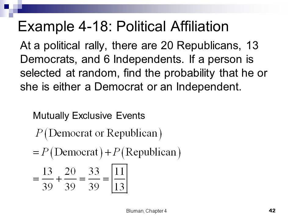Example 4-18: Political Affiliation