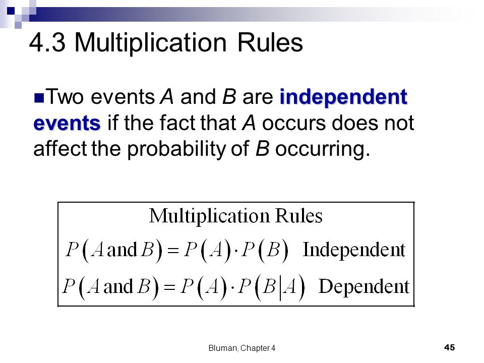 4.3 Multiplication Rules Two events A and B are independent events if the fact that A occurs does not affect the probability of B occurring.