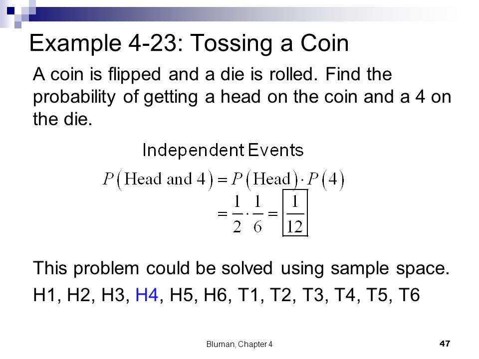 Example 4-23: Tossing a Coin