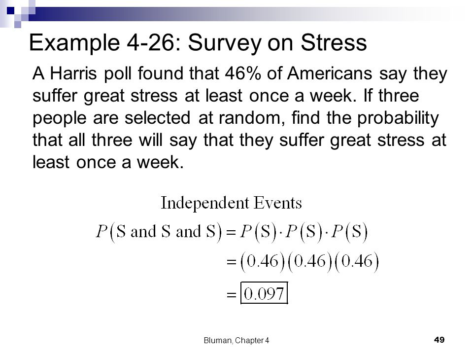 Example 4-26: Survey on Stress