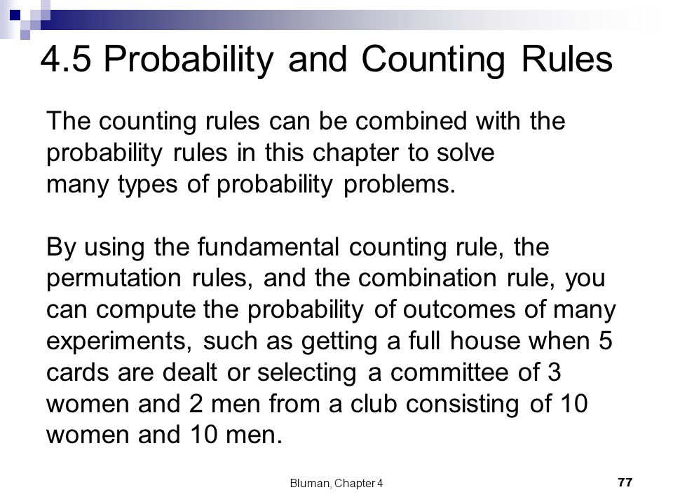 4.5 Probability and Counting Rules