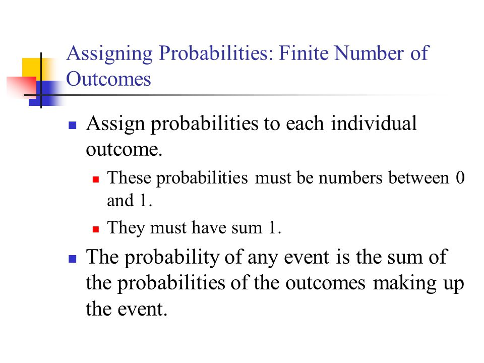Assigning Probabilities: Finite Number of Outcomes