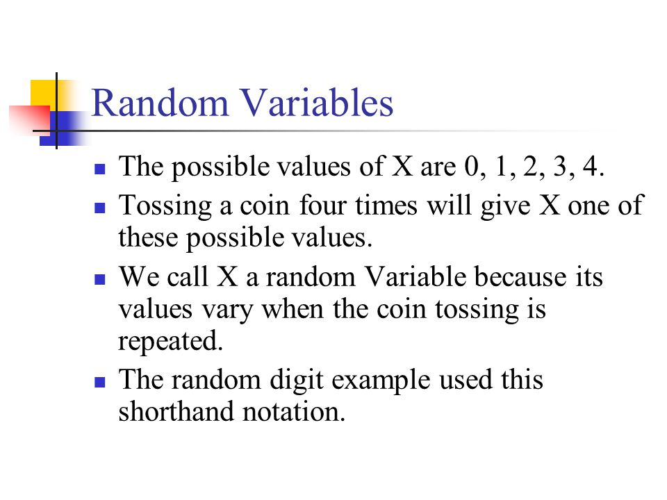 Random Variables The possible values of X are 0, 1, 2, 3, 4.