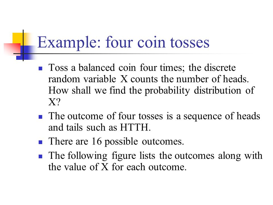 Example: four coin tosses