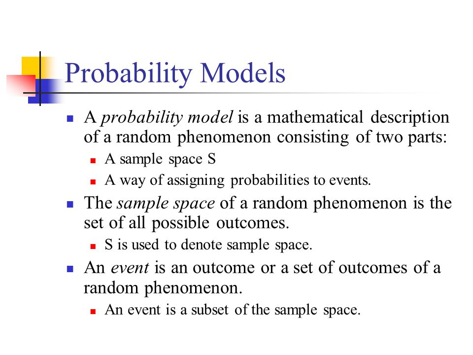 Probability Models A probability model is a mathematical description of a random phenomenon consisting of two parts: