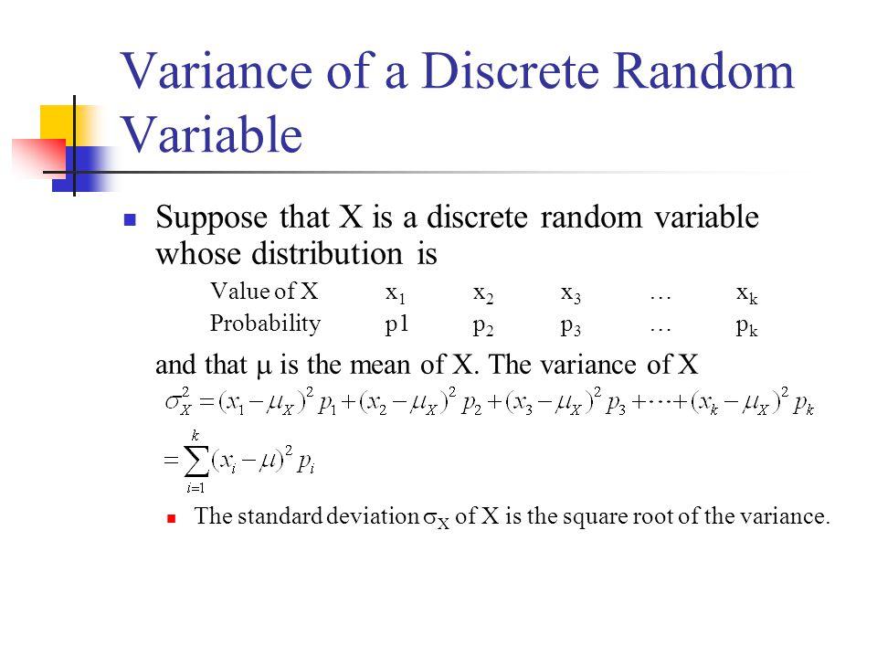 Variance of a Discrete Random Variable