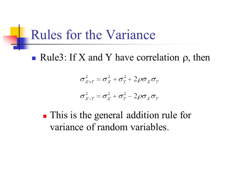 Rules for the Variance Rule3: If X and Y have correlation , then