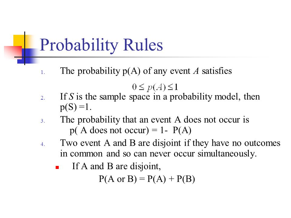 Probability Rules The probability p(A) of any event A satisfies