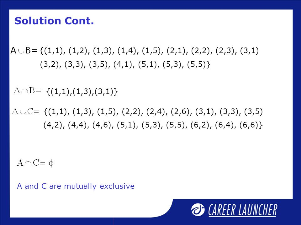 Solution Cont. {(1,1), (1,2), (1,3), (1,4), (1,5), (2,1), (2,2), (2,3), (3,1) (3,2), (3,3), (3,5), (4,1), (5,1), (5,3), (5,5)}