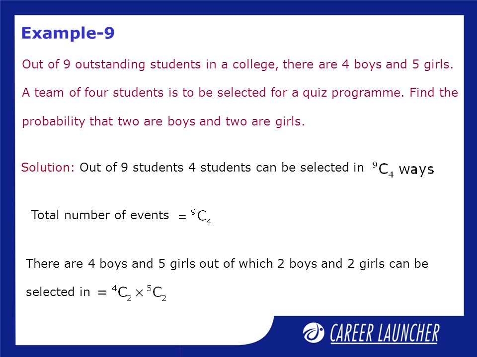 Solution: Out of 9 students 4 students can be selected in