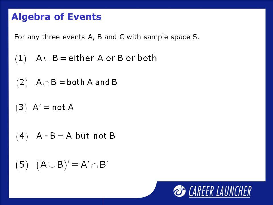 For any three events A, B and C with sample space S.