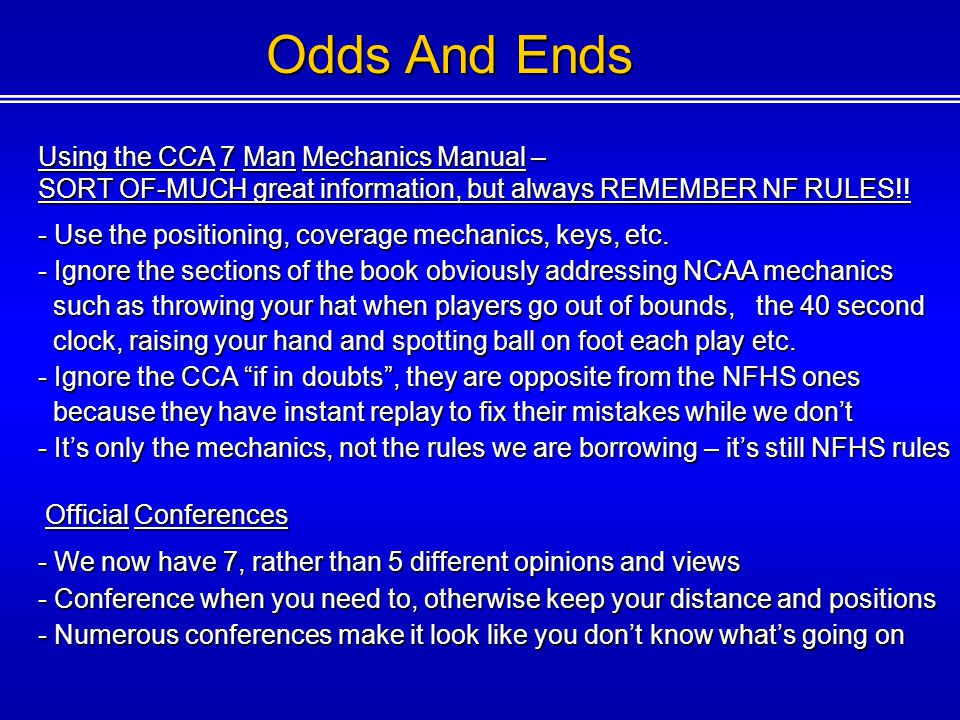 Odds And Ends Using the CCA 7 Man Mechanics Manual –