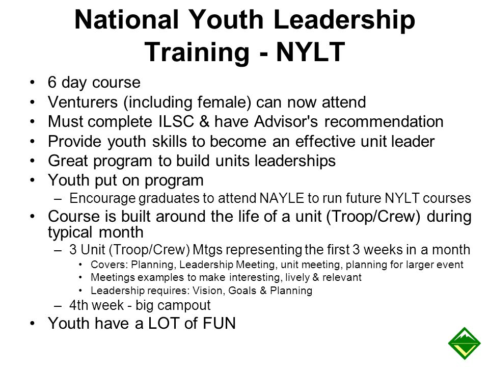 National Youth Leadership Training - NYLT