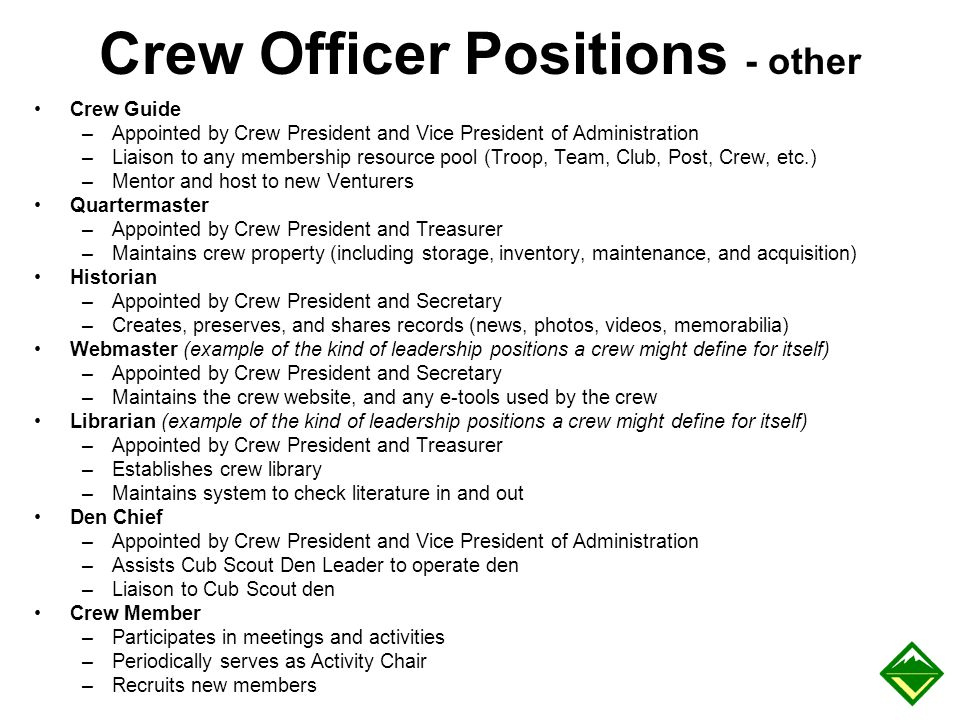 Crew Officer Positions - other