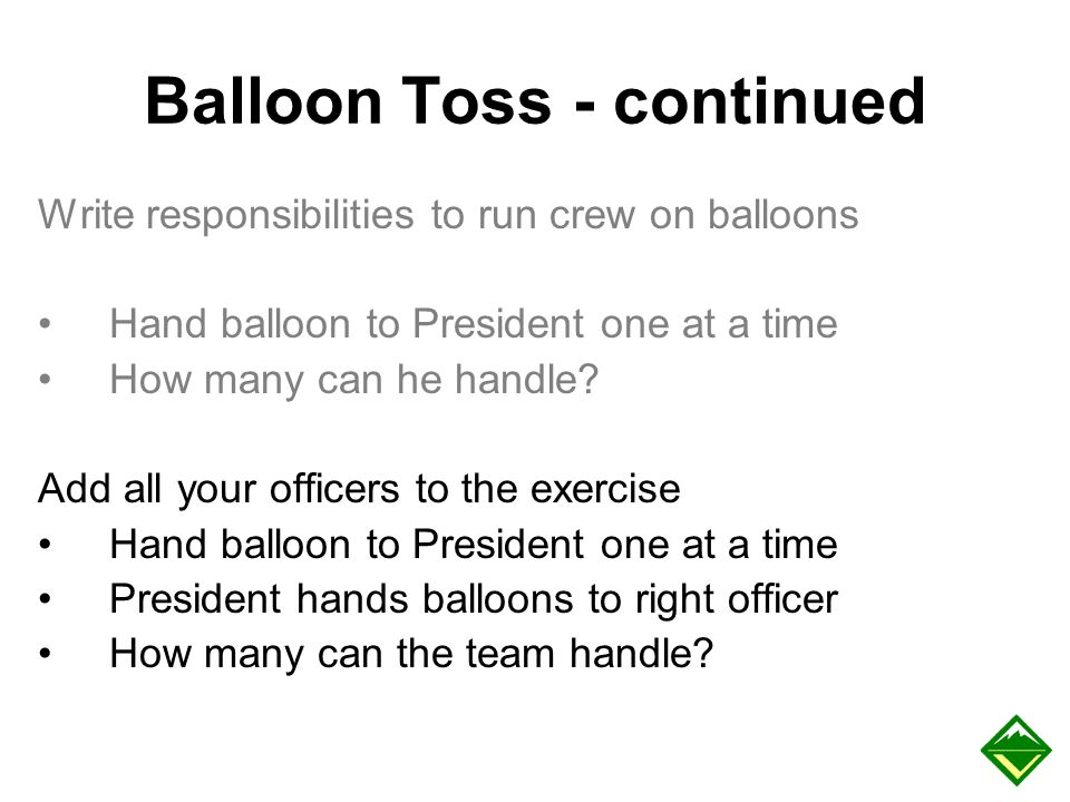 Balloon Toss - continued