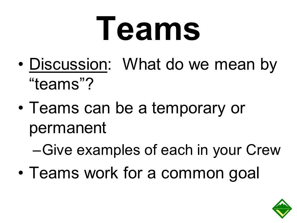 Teams Discussion: What do we mean by teams