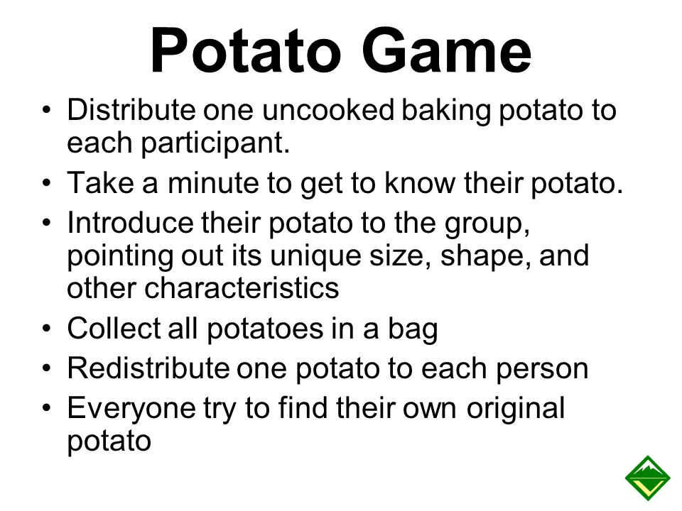 Potato Game Distribute one uncooked baking potato to each participant.