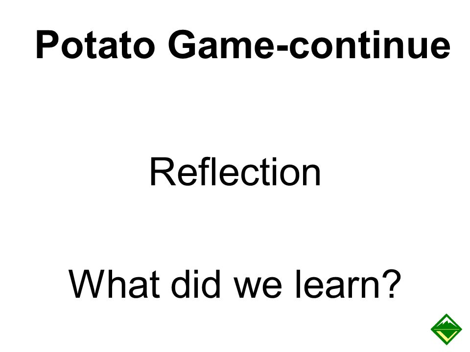 Potato Game-continue Reflection What did we learn Sample questions: