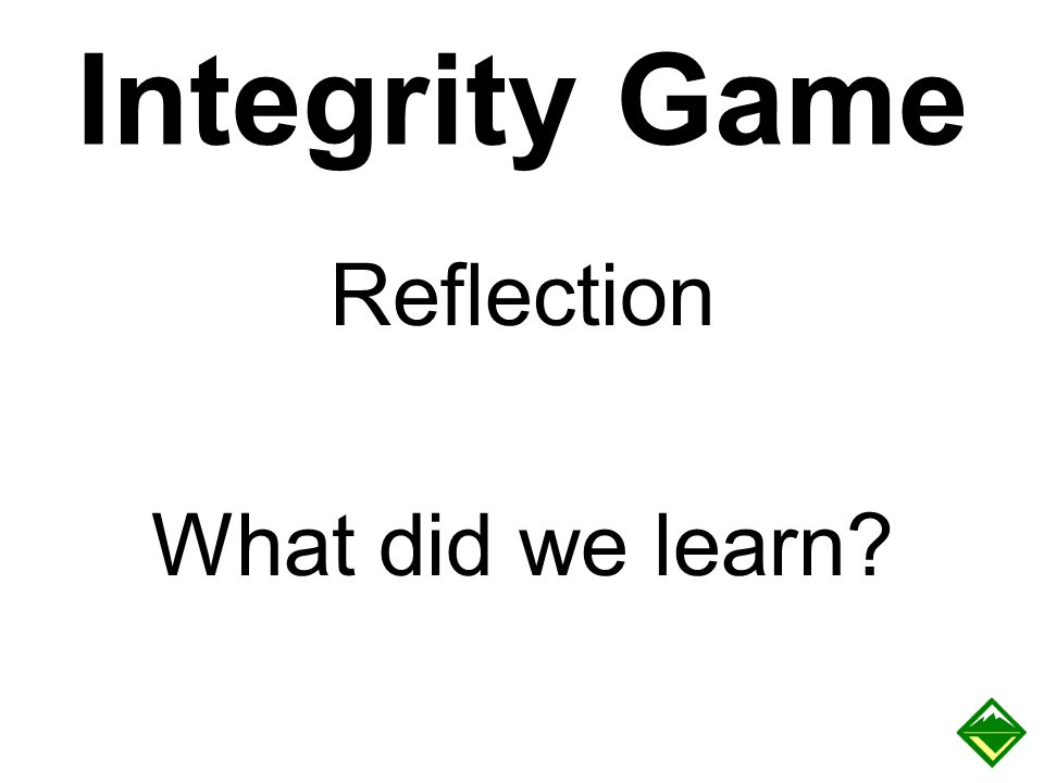 Integrity Game Reflection What did we learn