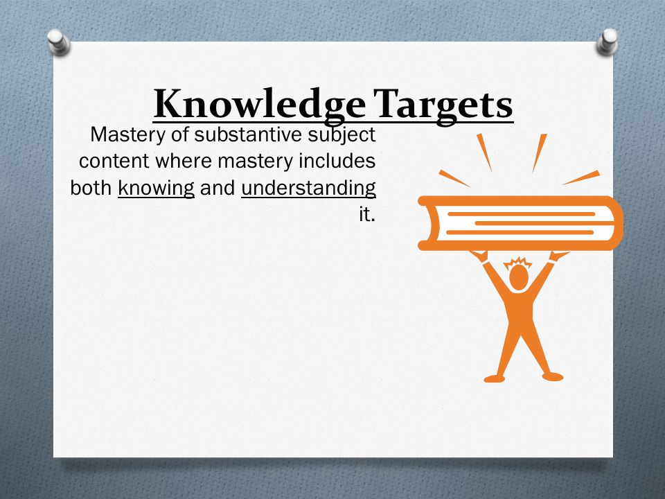 Knowledge Targets Mastery of substantive subject content where mastery includes both knowing and understanding it.