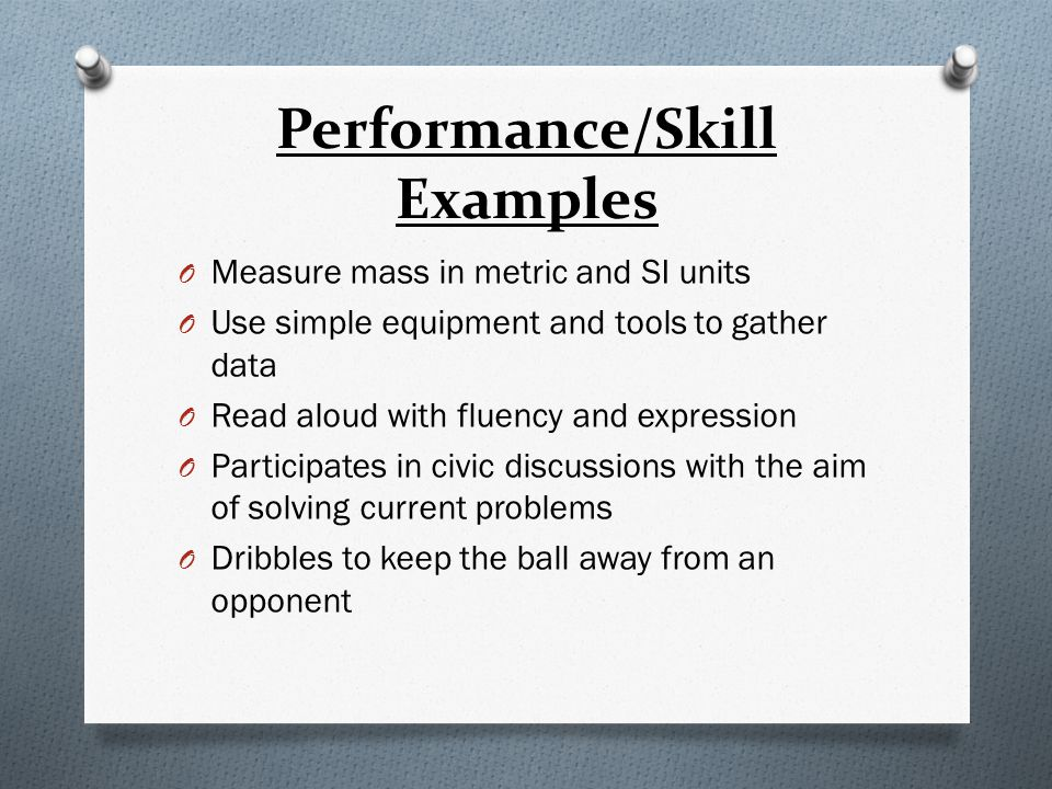 Performance/Skill Examples