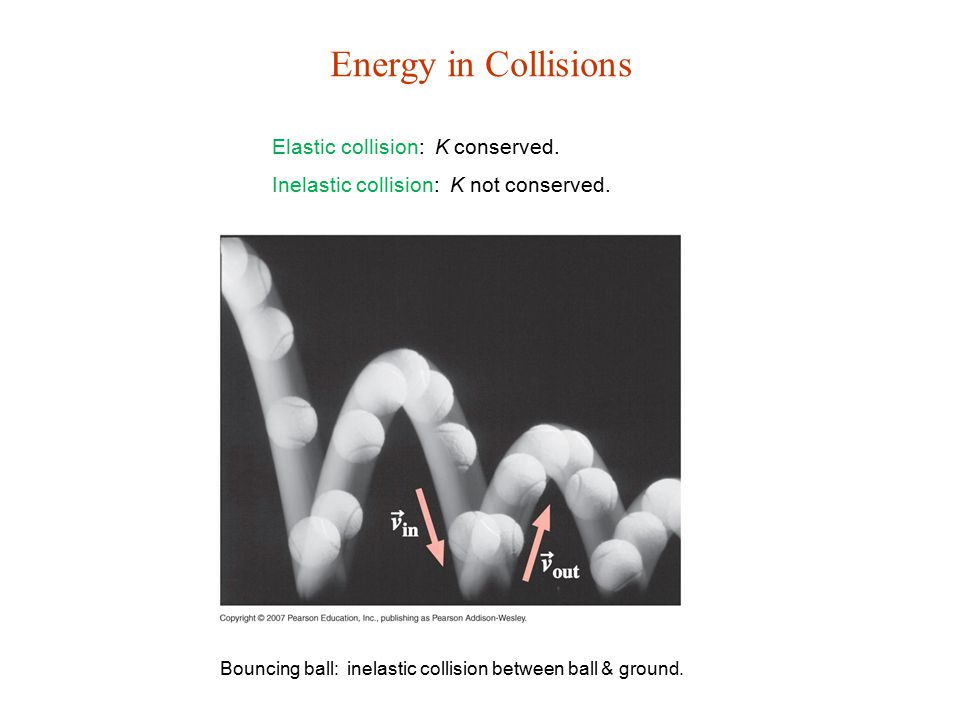 Energy in Collisions Elastic collision: K conserved.