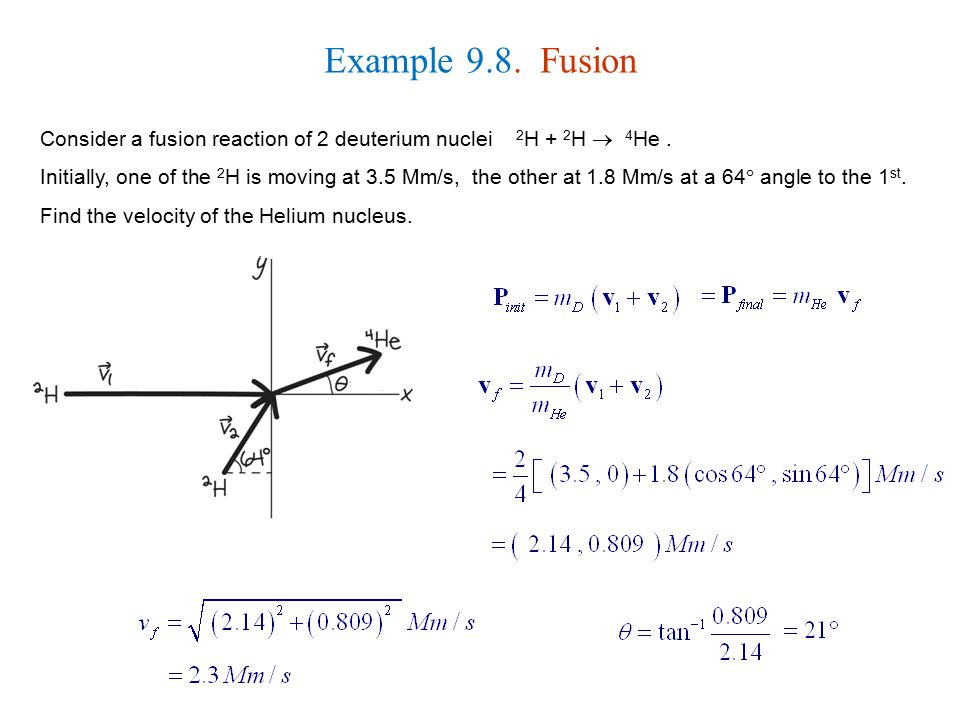 Example 9.8. Fusion Consider a fusion reaction of 2 deuterium nuclei 2H + 2H  4He .