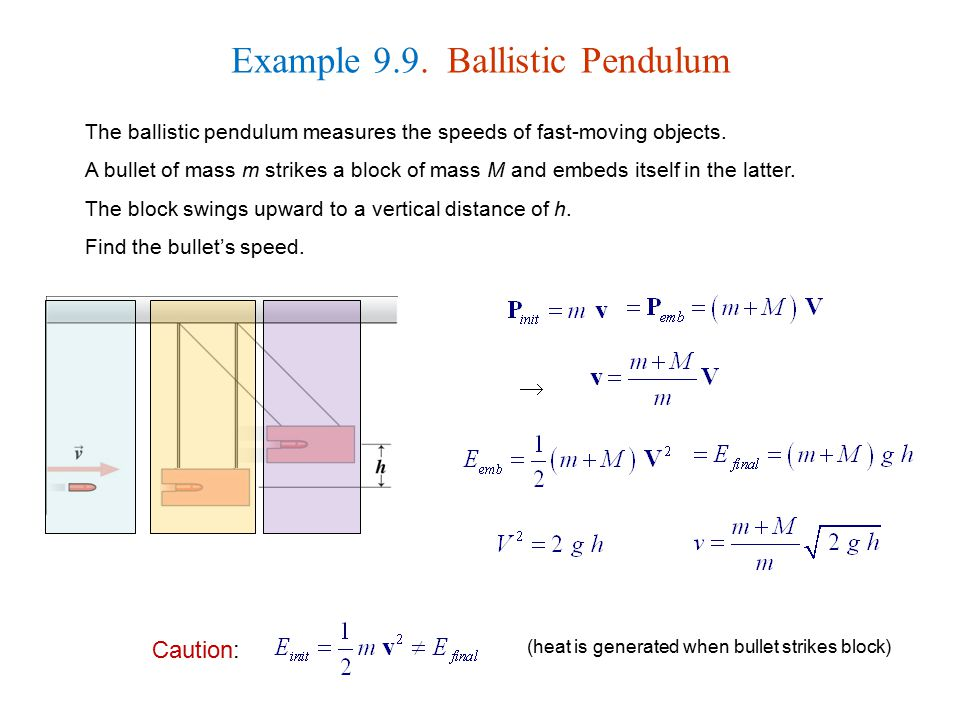 Example 9.9. Ballistic Pendulum