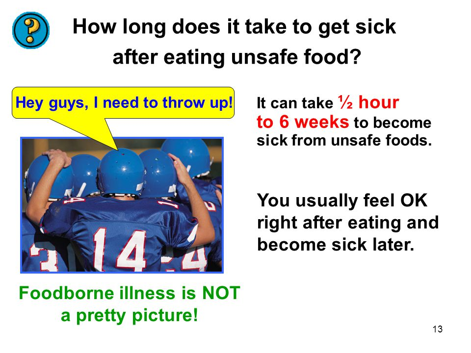 How long does it take to get sick after eating unsafe food