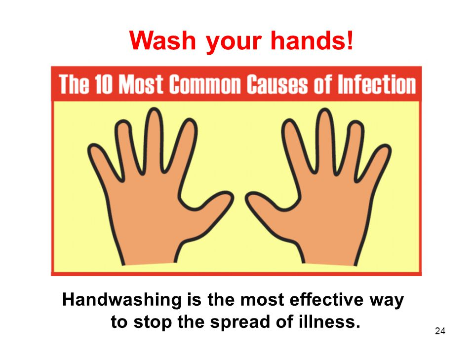 Handwashing is the most effective way to stop the spread of illness.