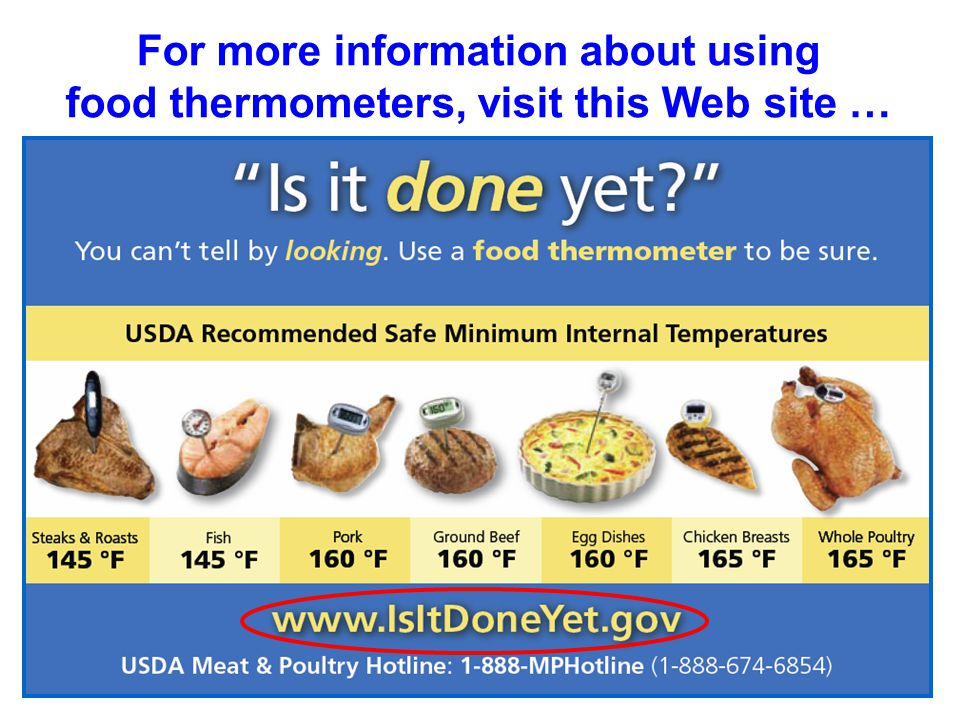 For more information about using food thermometers, visit this Web site …