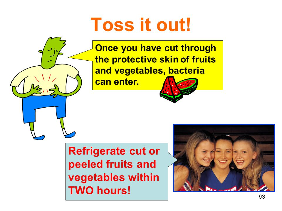 Toss it out! Once you have cut through the protective skin of fruits and vegetables, bacteria can enter.