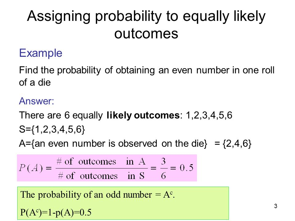 Assigning probability to equally likely outcomes