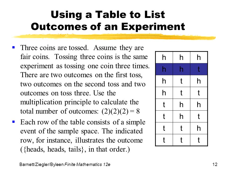 Using a Table to List Outcomes of an Experiment