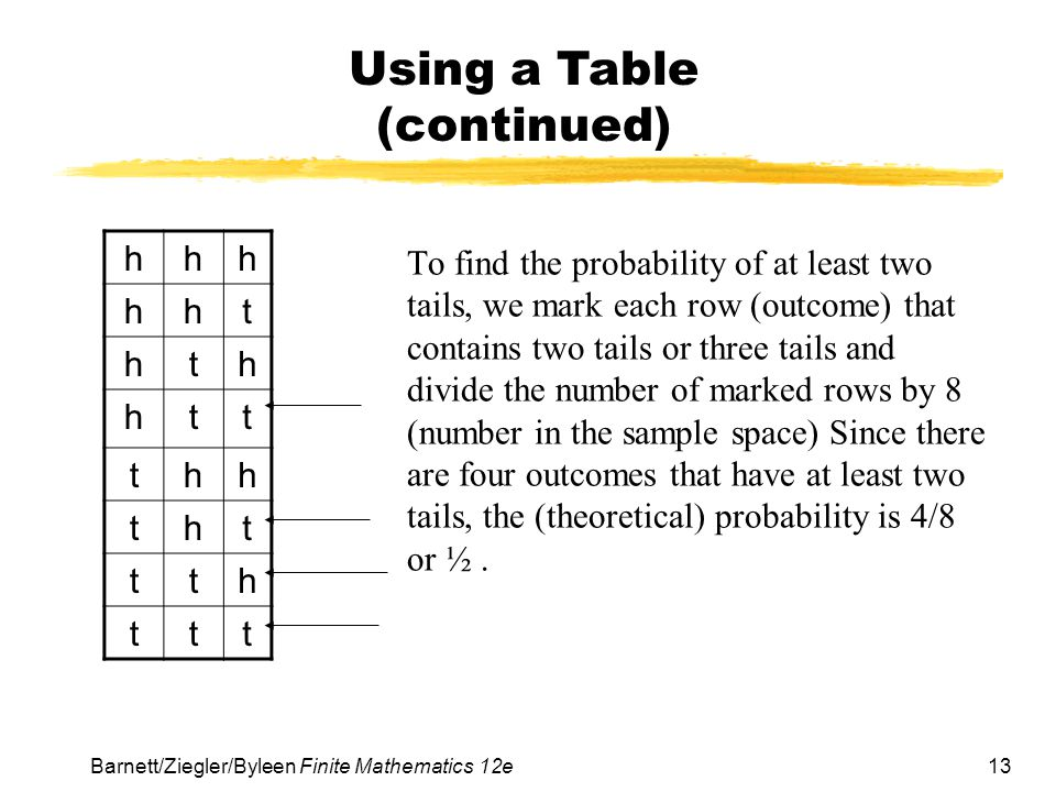 Using a Table (continued)